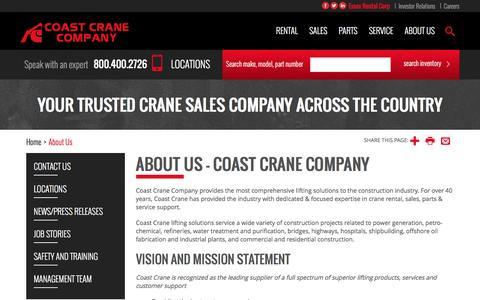 Screenshot of About Page coastcrane.com - About Us - Coast Crane Company - captured Nov. 8, 2016