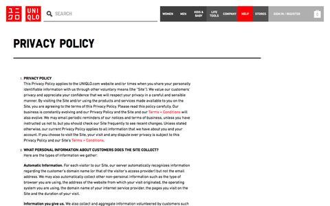 Screenshot of Privacy Page uniqlo.com - HELP - PRIVACY POLICY | UNIQLO - captured Sept. 19, 2014