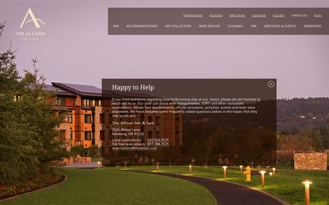 Screenshot of Contact Page theallison.com - Resort Near Portland Oregon | Contact Us | Allison Inn & Spa - captured Sept. 19, 2014