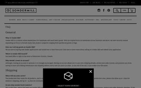 Screenshot of FAQ Page sondermill.com - FAQ                           | Sonder Mill - captured Jan. 11, 2016