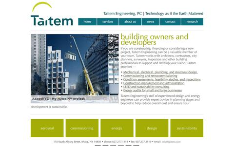 Screenshot of Developers Page taitem.com - Taitem Engineering, PC    Ithaca, NY   Energy Consulting, Sustainability Consulting, Renewables (Solar PV), Design  » for developers - captured Feb. 27, 2016