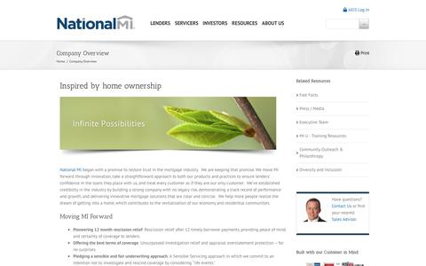 Screenshot of About Page nationalmi.com - Company Overview   National MI - captured March 21, 2019