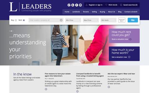Screenshot of Home Page leaders.co.uk - Leaders - Lettings & Estate Agents - captured Feb. 11, 2016