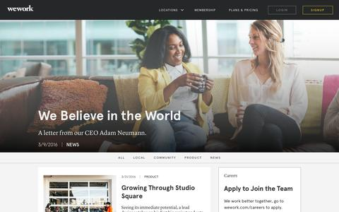 Screenshot of Blog wework.com - WeWork News, Announcements, and Updates - captured April 5, 2016