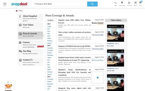 Screenshot of Press Page snapdeal.com captured Dec. 2, 2015