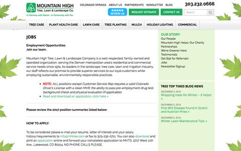 Screenshot of Jobs Page mountainhightree.com - Mountain High Tree, Lawn & Landscape Co. | Jobs | Mountain High Tree - captured Dec. 14, 2016