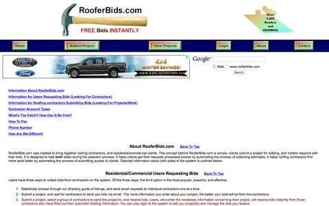 Screenshot of About Page rooferbids.com - roofer roofing contractors roofers roofing contractor roofing estimates directory free estimates bids quotes - captured March 13, 2016