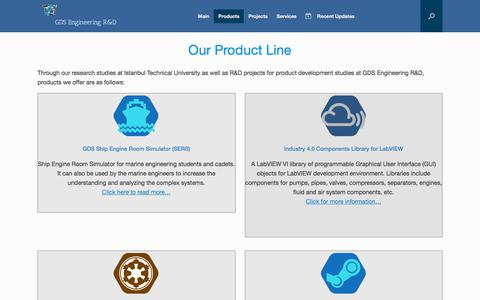 Screenshot of Products Page globaldynamicsystems.com - Products – GDS Engineering R&D - captured Sept. 24, 2018