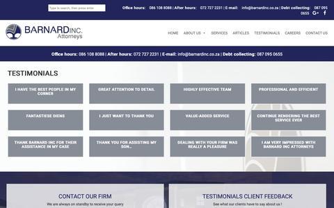 Screenshot of Testimonials Page barnardinc.co.za - Terms & Conditions | Barnard Incorporated - captured Nov. 13, 2018