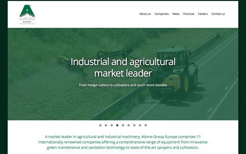 Screenshot of Home Page alamomanufacturing.com - Alamo Group Europe - captured Feb. 5, 2016