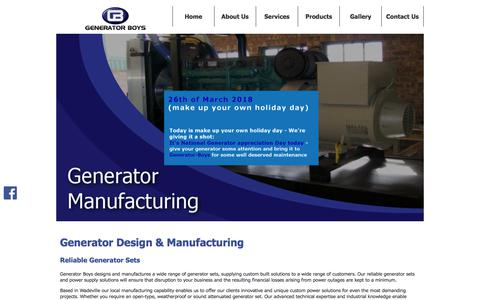 Screenshot of Home Page generator-boys.co.za - Generator Boys | Designing and Manufacturing of Generators - captured July 17, 2018