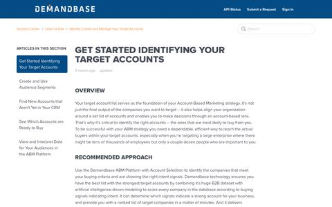 Screenshot of Support Page demandbase.com - Get Started Identifying Your Target Accounts – Success Center - captured Nov. 6, 2019
