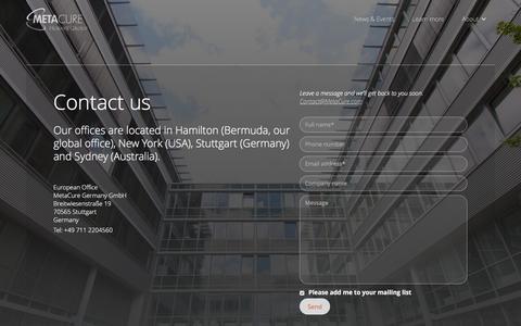 Screenshot of Contact Page metacure.com - Contact - MetaCure - captured Dec. 4, 2015