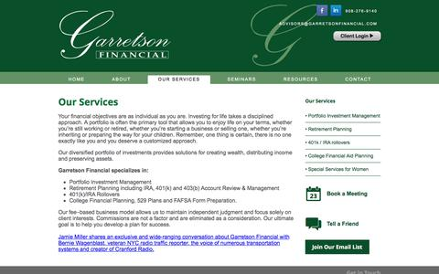 Screenshot of Products Page garretsonfinancial.com - Our Services | Garretson Financial - captured Jan. 25, 2016