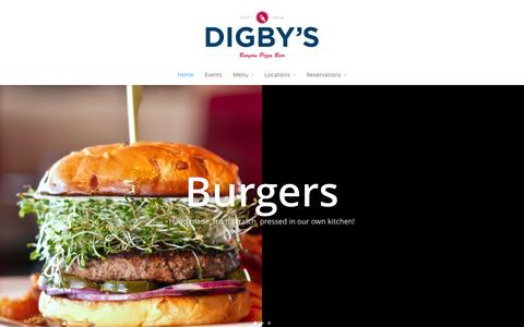 Screenshot of Home Page theeatshop.com - Digby's | Burgers | Pizza | Beer – Two Locations! - captured Oct. 6, 2014