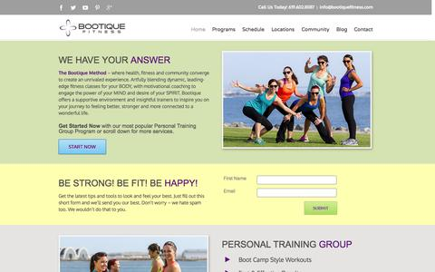 Screenshot of Home Page bootiquefitness.com - Fitness & Personal Training in San Diego | Zumba & Bootcamp in San Diego – Bootique Fitness - captured Sept. 30, 2014
