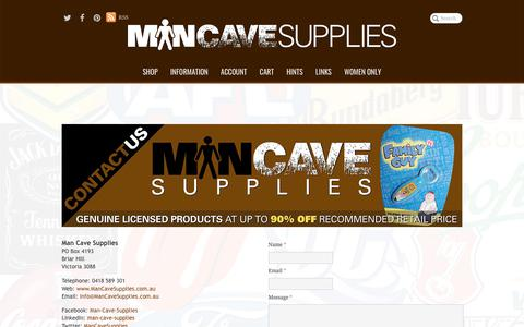Screenshot of Contact Page mancavesupplies.com.au - Man Cave Supplies | Contact Us - captured July 27, 2018