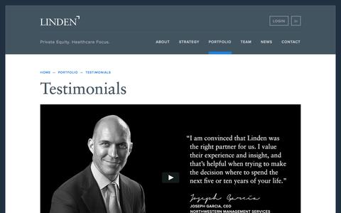 Screenshot of Testimonials Page lindenllc.com - Testimonials - Linden Capital Partners - captured Sept. 30, 2014