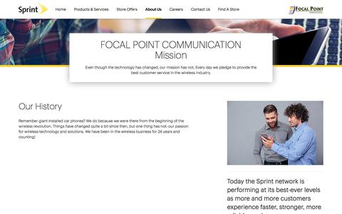 Screenshot of About Page sprint.com - About Us | FOCAL POINT COMMUNICATION - captured Oct. 14, 2017