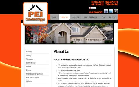 Screenshot of About Page myproexteriors.com - About Us | Professional Exteriors Inc - captured Oct. 3, 2014
