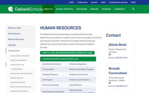 Screenshot of Jobs Page oakland.k12.mi.us - Human Resources - - captured Oct. 18, 2018