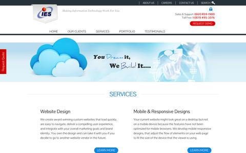Screenshot of Services Page iescentral.com - IES, Inc. Bakersfield Custom Website Designer and email provider. - captured Oct. 6, 2014