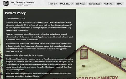 Screenshot of Privacy Page willpowerlaw.com - Privacy Policy | Spry Hawkins Micner - captured Oct. 6, 2014