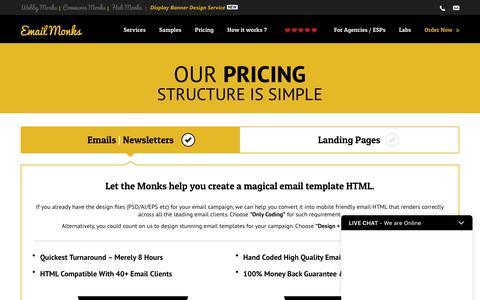 Screenshot of Pricing Page emailmonks.com - Best Prices for Email Design, Landing Page Design & HTML Coding - captured Sept. 28, 2017