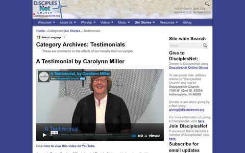 Screenshot of Testimonials Page disciplesnet.org - Testimonials – DisciplesNet - captured Feb. 9, 2016