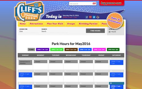 Screenshot of Hours Page cliffsamusementpark.com - Events Archive | Cliffs Amusement Park - captured May 21, 2016