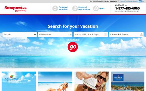 Screenshot of Home Page sunquest.ca - Sunquest Vacation Packages | Flight & Hotel Deals | Sunquest.ca! - captured Jan. 26, 2015