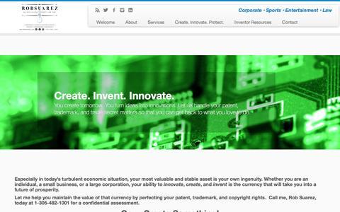 Screenshot of Home Page suareziplaw.com - Rob Suarez | Corporate Ľ Sports Ľ Entertainment Ľ Law - captured Jan. 11, 2016