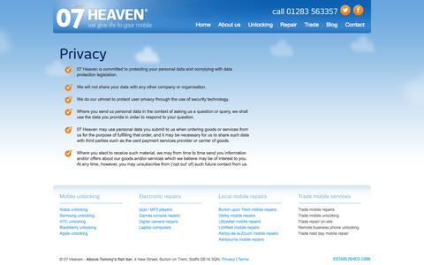 Screenshot of Privacy Page 07heaven.com - Privacy | 07heaven Burton - captured Oct. 8, 2014