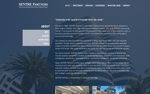 Screenshot of About Page sentre.com - About - SENTRE Partners - captured Oct. 3, 2014
