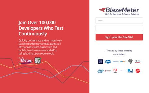 Screenshot of Landing Page blazemeter.com - Join Over 100,000 Developers Who Test Continuously Using BlazeMeter - captured June 3, 2016