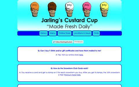 Screenshot of FAQ Page jarlingscustardcup.com - Jarling's Custard Cup- FAQs - captured Sept. 30, 2014