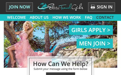 Screenshot of Contact Page elitetravelgirls.com - International NSA Introductions To Beautiful Travel Girls & Sugar Babies - captured Nov. 25, 2018