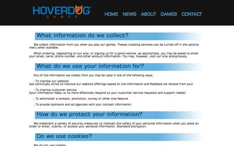 Screenshot of Terms Page hoverdog.com - Hoverdog Games - captured Sept. 30, 2014