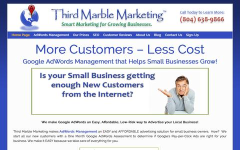 Screenshot of Home Page thirdmarblemarketing.com - AdWords Management | Small Business Google AdWords Pay per Click - captured Jan. 28, 2015