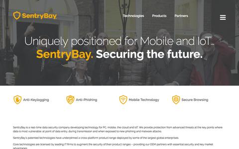 Screenshot of About Page sentrybay.com - SentryBay - Security that works - captured Feb. 13, 2016