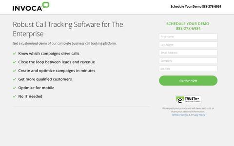 Screenshot of Landing Page invoca.com - Call Tracking Demo | Invoca - captured Nov. 16, 2016