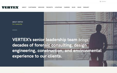Screenshot of Team Page vertexeng.com - The Vertex Companies, Inc.  |  Our Leadership - captured July 9, 2018