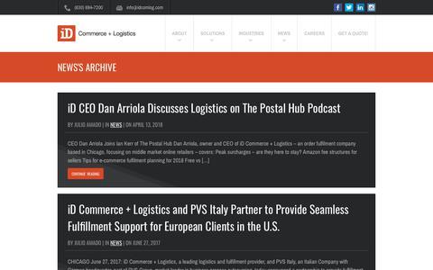 Screenshot of Press Page idcomlog.com - News Archives - iD Commerce + Logistics - captured May 3, 2018