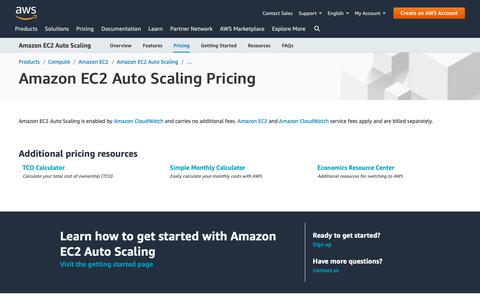 Screenshot of Pricing Page amazon.com - Amazon EC2 Auto Scaling Pricing - captured May 8, 2019