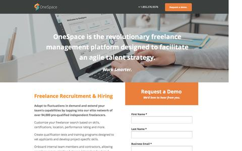 Screenshot of Landing Page onespace.com - OneSpace | Freelance Management, Recruitment & Hiring - captured Oct. 4, 2016