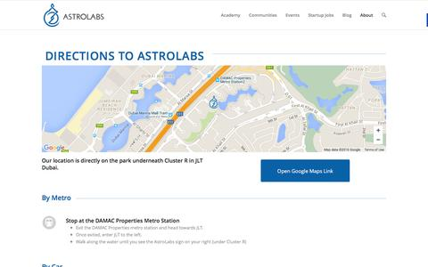 Screenshot of Maps & Directions Page astrolabs.com - AstroLabs Directions - captured March 1, 2016