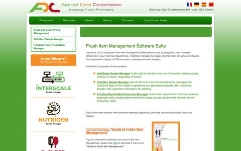 Screenshot of Products Page applieddatacorp.com - Products - captured Oct. 4, 2014