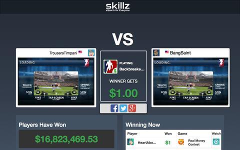 Screenshot of Home Page skillz.com - Skillz: eSports for Everyone - captured Oct. 1, 2015
