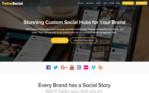 Screenshot of Home Page twinesocial.com - TwineSocial: Build Social Media Hubs for Brands and Agencies - captured Aug. 25, 2017
