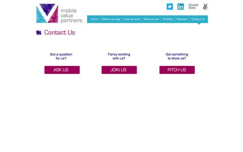 Screenshot of Contact Page mvpglobal.com - Mobile Value Partners :: Contact Us - captured Oct. 26, 2014